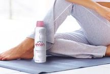 Fit Body, Healthy Skin / Evian Spray is your best friend in the gym. Spray away sweat to prevent pH imbalances in the skin that can cause irritation!