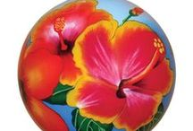 Hawaiian Christmas Flower Ornaments / Hand painted from the inside with amazingly detailed artistry.  Each ornament comes in a virtually indestructible velvet gift box.