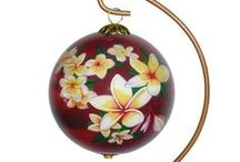 Sunset and Romance Ornaments / Collectible hand painted Hawaiian Christmas ornament featuring the magical sunset of the Hawaiian islands.