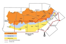 Aquifer Zones / The Edwards Aquifer system is divided into three zones: Drainage Area, Recharge Zone, and Artesian Zone. Each zone has unique hydrogeological features.