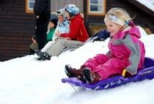 Snow Sleds for Kids / Snow sleds for kids is riding down a hill with a group on a wooden toboggan or if you prefer one of the fast plastic molded snow sleds.