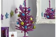 Pink Tinsel Christmas Tree / Brighten up the season with a Pink Tinsel Christmas Tree, available in table top and floor models. Add dark red, blue or black Christmas decorations for a modern look.