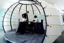 Creative Workspaces / Creating a diverse workspace in the open floor plan office with meeting enclosures, work pods and cool conference rooms