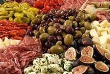 Appetiser > Antipasti > Charcuterie xo / Italian Antipasto is a traditional first course of a formal Italian meal. It can include cured meats, olives, peperoncini, mushrooms, anchovies & artichoke hearts etc. French Charcuterie are offerings of cold meats traditionally eaten with pickles, cheeses & crusty bread. Keva xo