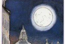 XVIII Луна (Сумерки). The Moon. / La Luna, La Lune, Der Mond. (Положительные значения) События, произошедшие в прошлом, определяют наше настоящее. Интуиция. Сильные эмоции. Скрытые истины Неординарные способности. Неосторожность. Мечты. Воображение. Фантазии. Потусторонний мир. Мать. Женский архетип. Перемены. (Негативные значения) Бегство от действительности. Смущение. Обман. Мошенничество. Неискренность. Клевета. Ложь. Предательство. Запутанные мысли. Неверность., Хитрость. Страх. Обман. Депрессия. Тайные враги.