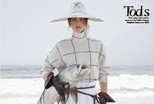 Tod's 2014 AW Editorial /  White Turtleneck Plaid Pullover and Floppy Hat