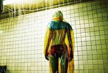 Miu Miu 2014 AW Editorials / Yellow and Blue Transparent PVC Rain Coat