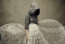 Dolce & Gabbana AW 2014 Editorials -2 / Little Red Riding Hood in White Keys Prints Chiffon Dress