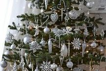 White and silver Christmas Trees
