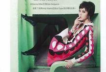 Valentino 2014 AW Editorials -3 / Red Circular Print V Neckline Dress