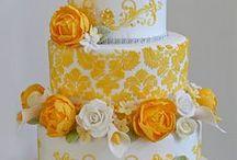 Yellow and Orange Wedding Cakes