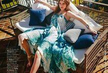 Blumarine 2015 SS Editorials -1 / Green Petal Print Embroidered Gown