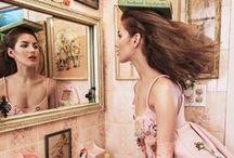 Prada 2015 AW Editorials -2 / Little Pink Embellished Jersey Gazarre Empire-Waist Dress