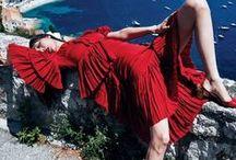 Gucci 2015 AW Editorials -3 / Red Layered Silk Satin Georgette Plisse Ruffle Dress