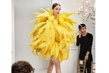 Moschino 2016 SS Editorials -1 / Big Bird Yellow Feathers Dress