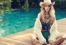 Tommy Hilfiger 2016 SS Editorials -2 /  Multi-Coloured Crochet One-Piece Swimsuit in Green