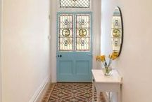 Hall Inspiration / Just had the hall plastered so now looking for design and storage ideas... currently loving patterned tiles so hope they can somehow be included in my design, but will have to be done on a shoe string... also very much liking a beachy feel.... but not too beachy (no fish or boats on the walls) if you get my drift (but maybe something made out drift wood would be nice) :-)