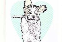 Dog art ❤ / #dogart #dogs #animals #pets #kingcharlescavalier #cavalier #cockapoo #dogs #animals #retro #screenprint