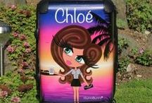 ♡ Personalised Suitcases / Personalise your suitcase as your very own HunniBunni Girl!  Using the HunniBunni Little Miss Builder you can choose between the outfits, outfit colours, hair styles, hair colours, eye colours, skin tones and can add your name or personalised text so that your suitcase will be customised and unique to you -  visit our website: www.hunnibunniboutique.co.uk