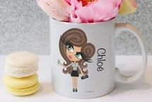 ♡ Personalised Mugs / Gorgeous HunniBunni White Mug which can be personalised with your choice of Gem outfit, name, hair colour, hair style, eye colour and skin tone.  Mugs are double sided for right or left handed use -   visit our website: www.hunnibunniboutique.co.uk