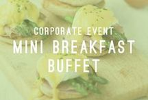 Mini Breakfast Buffet / Corporate Event / At Atlasta we are dedicated to providing you with the finest and most professional service available. Our catering teams are committed to attending to all of your needs. We specialize in starting your morning off on the right foot by providing food and beverage for early sunrise meetings, huddles, and wake up call events.  And, sometimes all you need is just a bite!  AtlastaCatering.com