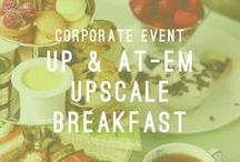 Up & At-Em Upscale Breakfast / Corporate Event / At Atlasta we are dedicated to providing you with the finest and most professional service available. Our catering teams are committed to attending to all of your needs. We specialize in starting your morning off on the right foot by providing food and beverage for elite clients in various upscale business settings.  AtlastaCatering.com