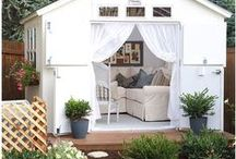 OUTDOOR SPACES / All kinds of outdoor inspiration for decorating your front and back porch, your white picket fence in the yard, and even your outdoor dining table is found in this board!