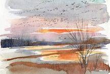 watercolor paesaggi