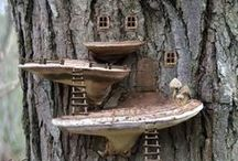 Stump Fairy Homes / Creative ideas for the woods or backyard miniature garden fun.