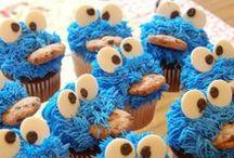 mijn super leuke cupcakes  / kookie monster!!!!!