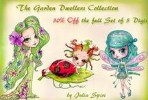The Garden Dwellers Collection. Digital Stamps / Digital stamps for coloring and scrapbooking #coloring #digitalstamps #crafting #draw #garden #dwellers #parercrafting #cardmaking