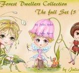 The Forest Dwellers Collection. Digital stamps. / Digital stamps for scrapbooking, crafting. #coloring #digitalstamps #crafting #draw #forest #dwellers #parercrafting #cardmaking