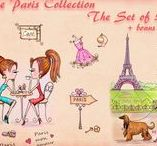 The Paris Collection / Digital stamps for crafting. #coloring #digitalstamps #crafting #draw #paris #parercrafting #cardmaking