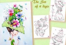 The Hat Collection. Digital stamps for crafting. / Digital stamps for scrapbooking. Set of 4 Digital Stamps, Digi, Coloring, Hat stamps, Butterfly, Victorian hat, Cake hat, Flowers, Girl stamp, Fantasy.  #coloring #digitalstamps #crafting #draw #hats #fantasy #parercrafting #cardmaking #papercrafting #watercolor #digitalstamp  #hat #print #painting #homedecor