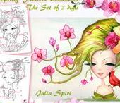The Spring Flowers Collection / Set of 3 Digital Stamps, Crafting, Digi stamp, Orchids, Geisha and Sherry Blossom, Spring Flowers, Spring. The Spring Flowers Collection. #coloring #digitalstamps #crafting #draw #flowers #parercrafting #cardmaking
