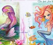 The Mermaids Collection. Digital Stamps / Digital stamps for crafting. Mermaids #mermaids #mermaid #fantasy #fantasygirl #watercolour #watercolor #craft #crafting #sea #ocean #blue #painting #art #artist #artwork #paint #print #beautiful #arts #artsy #color #coloring #colour #illustration #marine #siren #littlemermaid #shell #papercrafting