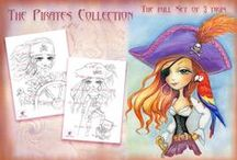 The Pirates Collection. Digital stamp / Digital stamp for crafting, scrapbooking. Pirates #coloring #digitalstamps #crafting #draw #pirates #parercrafting #cardmaking #pirateday #creative #digitalstamp #piratesofthecaribbean #pirateart #pirategirl #pirateblack #scrapbooking #piratelife #coloringpages #piratetheme #stamping #card #craft #colouring #art #coloringbook #fantasyart #artist #fantasy #parrot #pirates #watercolor