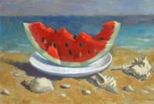"""Watermelon / To taste a watermelon is to know """"what the angels eat,"""" Mark Twain proclaimed. People have been eating watermelons for millennia. We know this because archaeologists found watermelon seeds, along with the remnants of other fruits, at a 5,000-year-old settlement in Libya. The watermelon has long inspired artists . The first color sketches of the red-fleshed, sweet watermelon in Europe can be found in a medieval medical manuscript, the Tacuinum Sanitatis."""