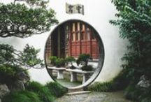 Moon Gates / The moon gate is an ancient Chinese landscape element that acts as a portal between gardens as well as between inside and outside. The shape of these gates, a circle rising up out of the land, has many meanings. more here: http://www.houzz.com/ideabooks/13775757/list/discover-an-ancient-portal-design-full-of-meaning