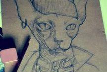 sketchbook / bocetos / De la idea a la hoja en blanco, el boceto como transcripción directa de la creación. El olor a papel, el tizne del grafito. Cuando te das cuenta que el lateral de la mano lo tienes manchado del carboncillo que desprende el lápiz....y esos hilillos de la goma que lo inundan todo.