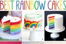 Rainbow cakes, Cake toppers and Garlands / Love rainbow colors!