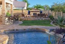 Custom Landscape / The earth landscape gallery features overviews of complete landscape design projects so that you can get a feel for how many aspects of a landscape flow together. See examples of features from the other landscape photo galleries to see the different options to add to these landscape designs. - www.lonestaraz.com