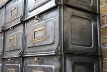"Strafor / ""Les Forges de Strasbourg"" famous brand for Industrial Cabinets, lockers, desks... For an Industrial look in any interior those metal pieces are just stunning! Don't forget to visit: www.laboutiquevintage.co.uk"