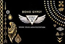 Boho Gypsy S P I R I T  T A T S / Metallic Temporary Tats, meaningfully designed for the Boho Gypsy Spirit.  This collection includes a full sheet of facial jewelry, wings, nail art, gypsy style, and elemental bands.