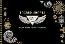 Sacred Shapes S P I R I T  T A T S / Metallic Tats, meaningfully designed for the Sacred Geometry loving spirit.  This collection features the flower of life, Fibonacci spiral, mercaba, tree of life, and elemental shapes.
