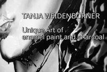Enamel paint & charcoal on canvas / unique art / contemporary art / modern art / fine art / pop art