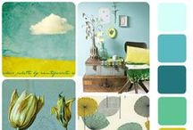 Color inspiration Teal and sunshine / A board full of inspiration in teal with that gorgeous sunshine yellow and oranges even gold, that combine so super well  Een bord vol inspiratie in aqua, teal, citroengeel, goud en alles wat daar mooi bij staat