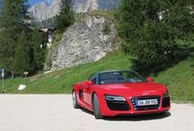 Audi R8 V10 Spyder Tour / For one of our clients we've organised this 3 day tour in cooperation with Audi Germany. Driving with 6 Audi R8 V10 Spyders on the magnificent mountain passes of North Italy in the Dolomites.