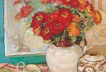 martwa natura; kwiaty w wazonie