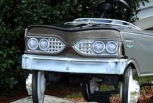 "Custom Thunderbird Pedal Car built by Carlisle Customs & Classics / Check out this fully restored and customized vintage pedal car built by Carlisle Customs & Classics.  This pedal car was taken down to the bare metal and then received a ""full-sized"" car restoration with body work, two-toned black and silver metallic paint, custom airbrushed emblems hue ages, and details.   Contact Vinny at CCC to customize your ""real"" car, pedal car, or both.  www.carlislecustomsandclassics.com"